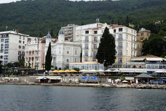 Opatija coastline with beaches,villas and hotels Stock Photos