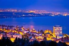 Opatija and Kvarner bay evening panoramic coastline view Stock Photos