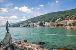Opatija, mar de adriático, Istria, Croatia fotografia de stock