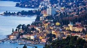 Opatija riviera bay bay and coastline panoramic view. Kvarner region of Croatia Stock Images