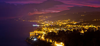 Opatija riviera bay evening panoramic view Royalty Free Stock Photo