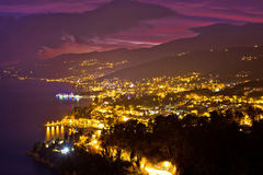 Opatija riviera bay evening panoramic view Royalty Free Stock Image