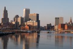 Opatrzność, Rhode - wyspy linia horyzontu w zimie Obrazy Royalty Free