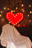 opatulony światło czerwone serce czerwona róża Zdjęcia Stock