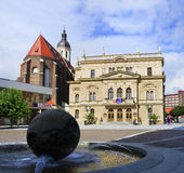 Opava, Czech Republic / Czechia. Upper square  Horni namesti , Silesian theater ( Slezske divadlo ), Cathedral of the Assumption of the Virgin Mary ( Katedrala Stock Image