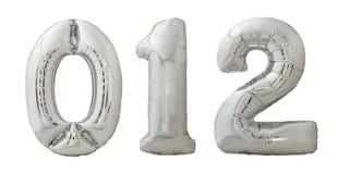 Opblaasbare de ballonsnummer 0, 1, 2 van Chrome op wit Royalty-vrije Stock Afbeelding