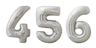 Opblaasbare de ballonsnummer 4, 5, 6 van Chrome op wit Stock Afbeeldingen
