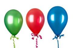 Opblaasbare die ballons op wit worden geïsoleerd Stock Foto