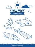 Opblaasbare het pictogramreeks van de luchtmatras De pictogrammen van het de zomeroverzicht met wolken en zon Walvis, krokodil, f Stock Fotografie