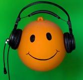 Opblaasbare oranje bal DJ Stock Fotografie