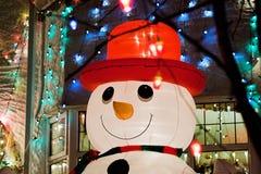Opblaasbare sneeuwman Stock Afbeeldingen
