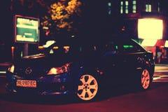 Opc汽车蓝色体育轿车马力速度 库存图片