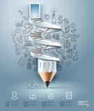 Opción de Infographics de la escalera del lápiz del negocio. Fotos de archivo libres de regalías