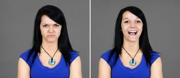 Opción de los retratos felices y enojados de la mujer joven Imagenes de archivo