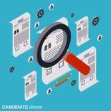 Opción del candidato, análisis del curriculum vitae, reclutamiento, gestión de recursos humanos, concepto del vector de la invest ilustración del vector