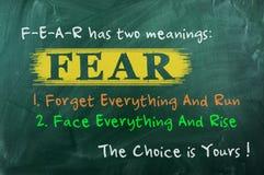 Opción del concepto del miedo Foto de archivo libre de regalías
