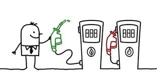 Opción del hombre y del combustible stock de ilustración