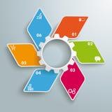 Opciones blancas coloreadas PiAd del engranaje 6 de la pequeña fan del Rhombus Imagen de archivo libre de regalías