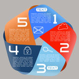 Opciones brillantes de la cinta infinita de las opciones de Infographics cinco de par en par Fotos de archivo libres de regalías