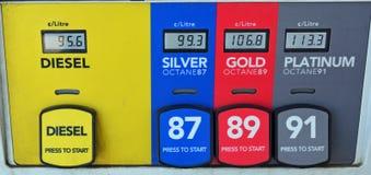 Opciones coloridas del combustible de la bomba de gas Imagen de archivo