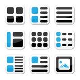 Opciones de la visualización del Web site e ico de la opinión de la galería de fotos Fotografía de archivo