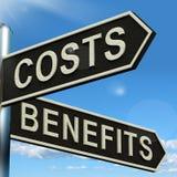 Opciones de las ventajas de los costes en el poste indicador que muestra análisis y valor de Imagen de archivo