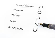 Opciones del cuestionario Imagen de archivo