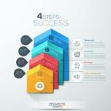 Opciones del paso del negocio del diagrama de la escalera de la flecha stock de ilustración