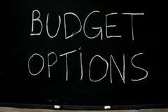 Opciones del presupuesto Fotografía de archivo