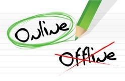 Opciones en línea y off-line de la selección Fotografía de archivo