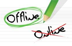Opciones en línea y off-line de la selección Fotos de archivo