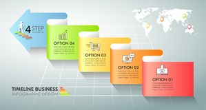 Opciones infographic de la plantilla 5 de la flecha Concepto del asunto libre illustration