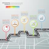 Opciones infographic de la plantilla 5 de la manera de camino stock de ilustración