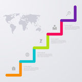 Opciones infographic del ejemplo del vector cinco con el mapa del mundo stock de ilustración