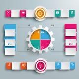 Opciones Infographic grande del engranaje 4 2 banderas del círculo ilustración del vector