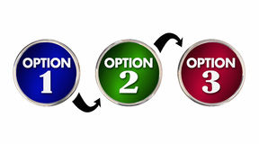 Opciones 1 mejor decisión bien escogida 2 3 una dos tres Fotografía de archivo