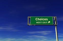 Opciones - muestra de la salida de autopista sin peaje Imagen de archivo