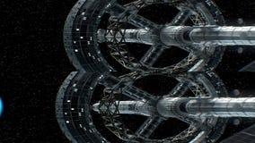 Opdracht aan aarde Verticaal anamorphic stereopaar, 3d animatie van groot ruimteschip De textuur van de Aarde werd binnen gecreee vector illustratie