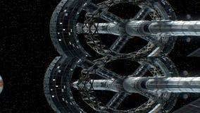 Opdracht aan Jupiter Verticaal anamorphic stereopaar, 3d animatie van groot ruimteschip De textuur van de planeet werd gecreeerd royalty-vrije illustratie
