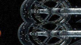 Opdracht aan Mars Verticaal anamorphic stereopaar, 3d animatie van groot ruimteschip De textuur van de planeet werd binnen gecree stock illustratie