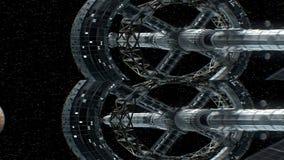 Opdracht aan Mercury Verticaal anamorphic stereopaar, 3d animatie van groot ruimteschip De textuur van de planeet werd gecreeerd vector illustratie