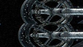 Opdracht aan Saturnus Verticaal anamorphic stereopaar, 3d animatie van groot ruimteschip De textuur van de planeet werd gecreeerd stock illustratie