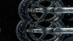 Opdracht aan Venus Verticaal anamorphic stereopaar, 3d animatie van groot ruimteschip De textuur van de planeet werd binnen gecre royalty-vrije illustratie