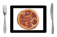 Opdracht gevend online tot voedsel stock afbeelding