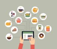 Opdracht gevend online tot voedsel Royalty-vrije Stock Afbeeldingen