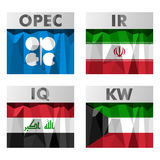 OPEC countries flags. Flags of countries belonging to OPEC. Iran, Iraq, Kuwait Stock Photo