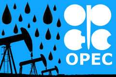 OPEC logo, oil drops and silhouette industrial oil pump jack Stock Photo