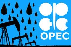 OPEC logo, olej krople i sylwetki nafcianej pompy przemysłowa dźwigarka, zdjęcie stock