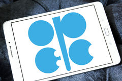 OPEC organization logo. Logo of OPEC organization on samsung tablet. Organization of the Petroleum Exporting Countries is an intergovernmental organization of 14 Royalty Free Stock Photo