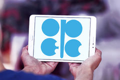 OPEC organization logo. Logo of OPEC organization on samsung tablet . Organization of the Petroleum Exporting Countries is an intergovernmental organization of Stock Image